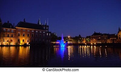 view of Binnenhof - Dutch Parliament with old town of The Hague, Holland
