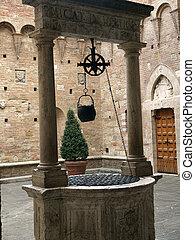binnenplaats, chigi-saracini, palazzo, -, siena