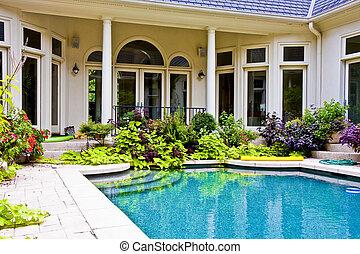 binnenplaats, pool