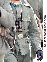 binocolo, durante, soldati, parata, militare