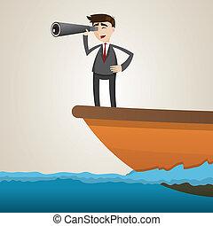binocolo, usando, nave, cartone animato, uomo affari