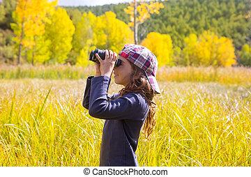 binocuar, explorateur, nature, jaune, automne, girl, gosse