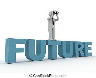 binoculaire, avenir, mot, homme, 3d