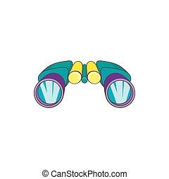 binoculaire, icône, style, dessin animé