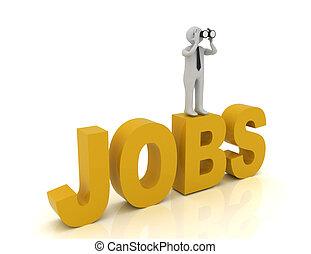 binoculaire, jobs., mot, homme, 3d