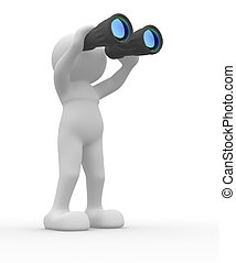 3d people icon with binocular on white background. 3d render illustration