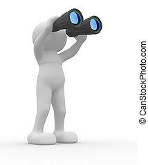 Binocular - 3d people icon with binocular on white...