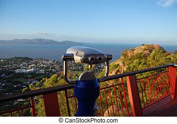 Binocular at lookout - Binocular at Castle Hill lookout,...