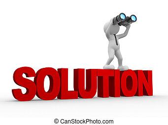 Binocular - 3d people - man, person with a binocular and...