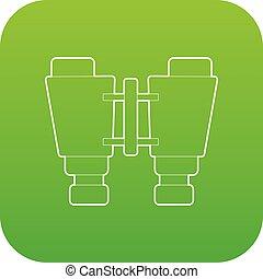 Binocular icon green vector