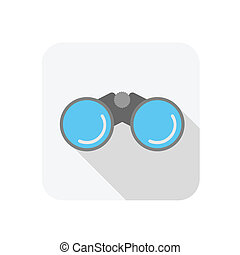 Binocular icon with blue glass, flat style