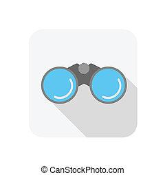 Binocular icon with blue glass,flat style
