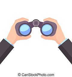 Binocular in Hand, Business vision, vector