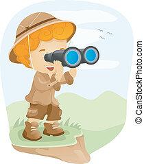 Binocular Kid - Illustration of a Kid Using a Pair of...