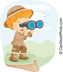 Binocular Kid - Illustration of a Kid Using a Pair of...