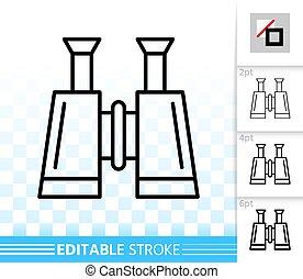 Binocular nautical simple black line vector icon - Binocular...