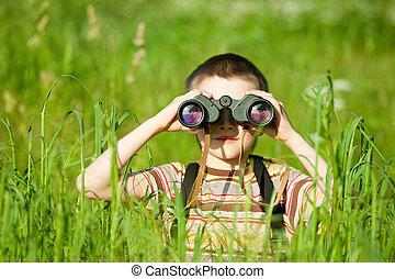 binocular, niño