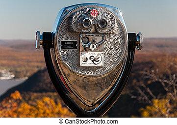 binocular - A binocular viewer looking out over mountains