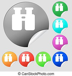 Binocular, Search, Find information icon sign. Set of eight multi-colored round buttons, stickers. Vector