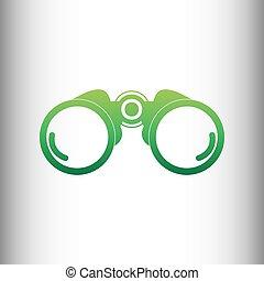 Binocular sign. Green gradient icon
