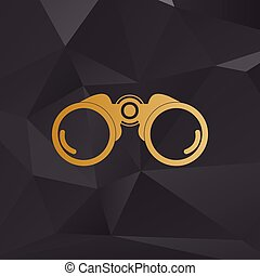 Binocular sign illustration. Golden style on background with polygons.