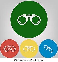 Binocular sign illustration. Vector. 4 white styles of icon ...