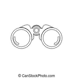 Binocular sign illustration. Vector. Black dotted icon on white background. Isolated.