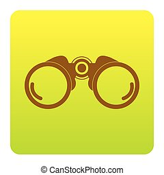 Binocular sign illustration. Vector. Brown icon at green-yellow gradient square with rounded corners on white background. Isolated.