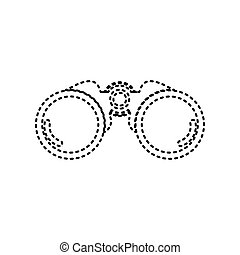 Binocular sign illustration. Vector. Black dashed icon on white background. Isolated.