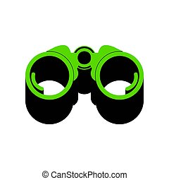 Binocular sign illustration. Vector. Green 3d icon with black si