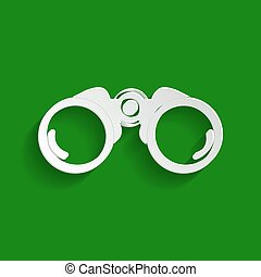 Binocular sign illustration. Vector. Paper whitish icon with soft shadow on green background.