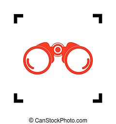 Binocular sign illustration. Vector. Red icon inside black focus corners on white background. Isolated.