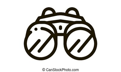 Binocular Tool Icon Animation. black Binocular Tool animated icon on white background