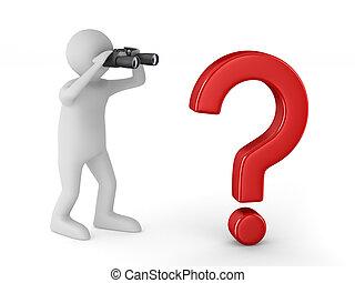 binoculare, isolato, fondo., bianco, uomo, immagine, 3d
