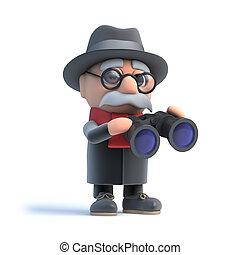 binoculares, abuelito, por, miradas, 3d