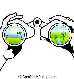 binoculares, apuntado, holi, él