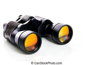 binoculares, blanco, aislado, plano de fondo