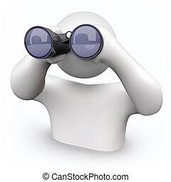 binoculares, -, buscar, ayuda