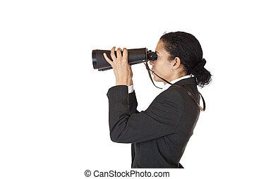 binoculares, futuro, mujer, buscando, empresa / negocio
