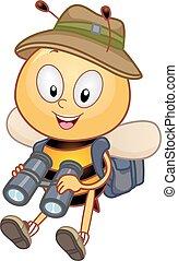 binoculares, mascota, explorador, abeja