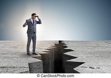 binoculares, Mirar, borde, acantilado, hombre de negocios