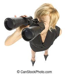 binoculares, mujer de negocios