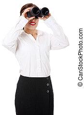 binoculares, mujer de negocios, threought, miradas