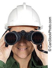 binoculares, mujer