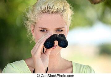 binoculares, mujer, observar, naturaleza