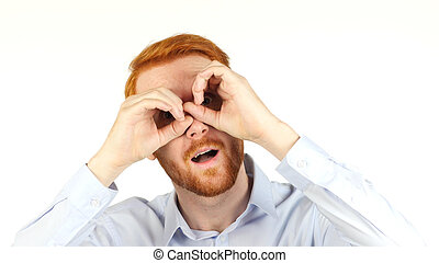 binoculares, , oportunidades, buscando, hombre de negocios, retrato, utilizar