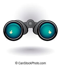 binoculares pretos, branco, backgroun