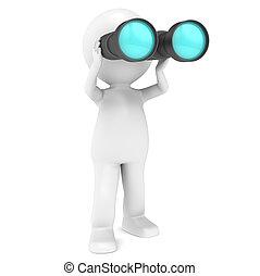 3D Little Human Character holding a pair of Binoculars