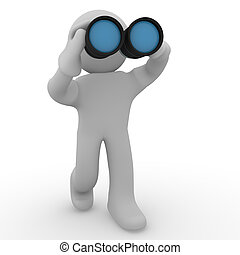 Binoculars - 3d man with binoculars on a white background