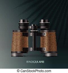 Binoculars, adventure concept for scientific expedition